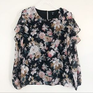 Lucca | Black Floral Cold Shoulder Blouse